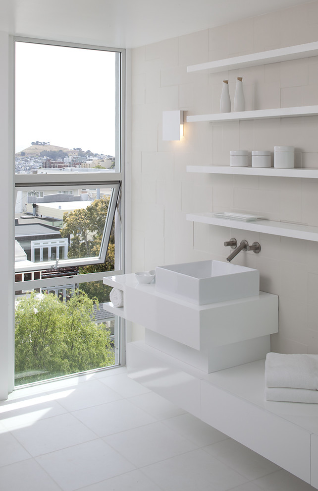Inspiration for a modern white tile bathroom remodel in San Francisco with a vessel sink, open cabinets and white cabinets