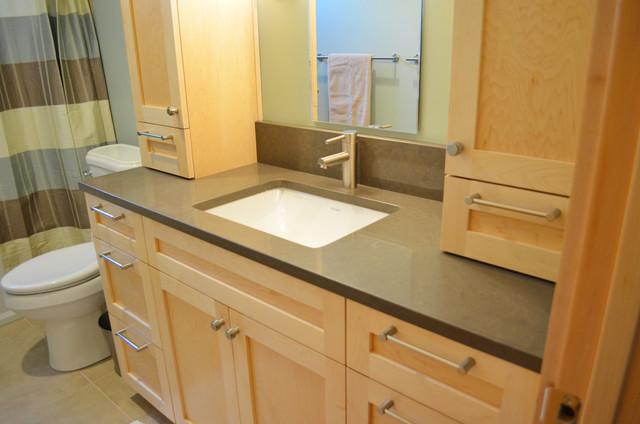 guest bath new maple vanity with caesarstone quartz