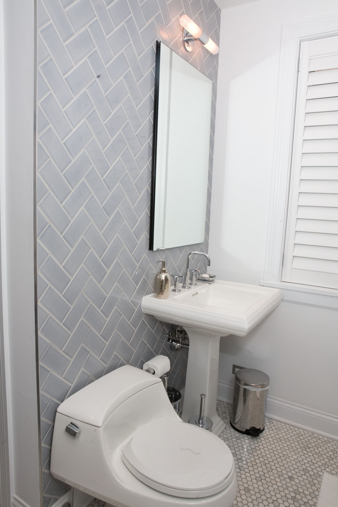 Inspiration for a small timeless 3/4 blue tile and subway tile mosaic tile floor alcove bathtub remodel in Chicago with a one-piece toilet, white walls and a pedestal sink
