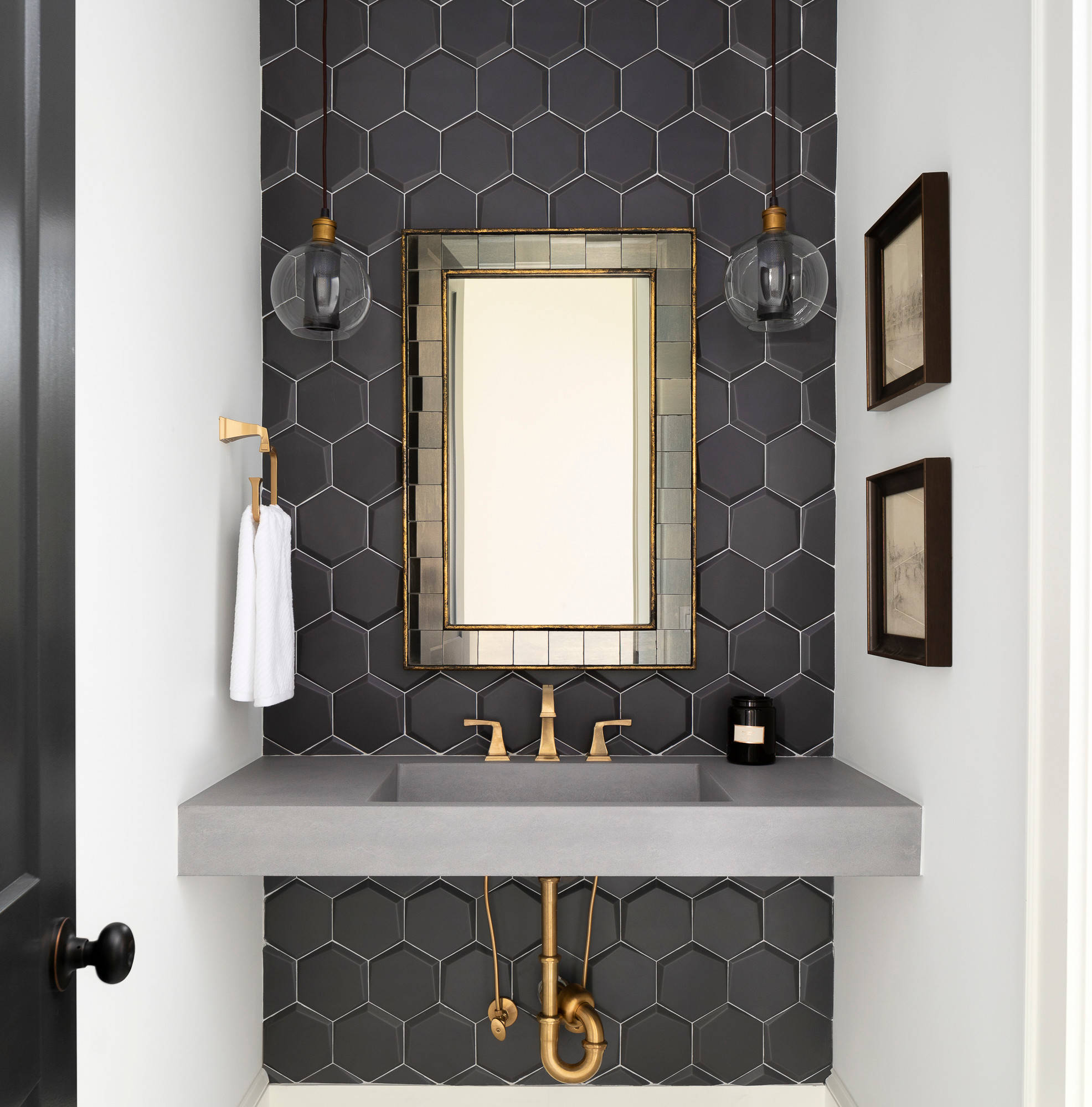 75 Beautiful Black Tile Bathroom With Concrete Countertops Pictures Ideas February 2021 Houzz