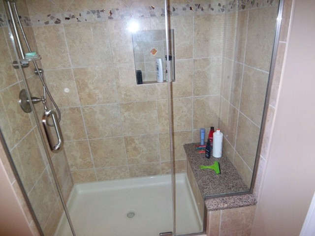 Guest Bath Replaced Tub With Walk In Shower Transitional Bathroom