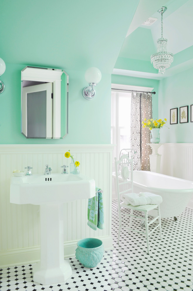 Example of a mid-sized ornate white tile and ceramic tile mosaic tile floor and multicolored floor claw-foot bathtub design in Nashville with a pedestal sink and green walls