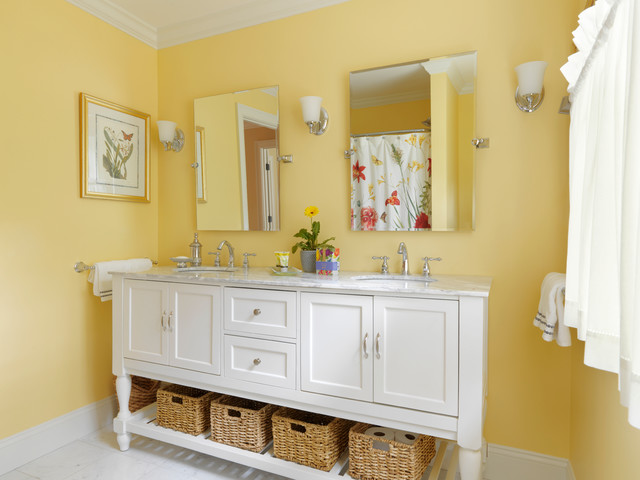 Cottage white tile and stone tile marble floor bathroom photo in Burlington with a console sink, furniture-like cabinets, white cabinets, marble countertops, a two-piece toilet and yellow walls