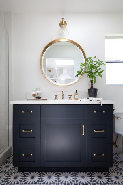 This is an example of a medium sized beach style bathroom in Los Angeles with black cabinets, marble worktops, multi-coloured tiles, white walls, a console sink and shaker cabinets.
