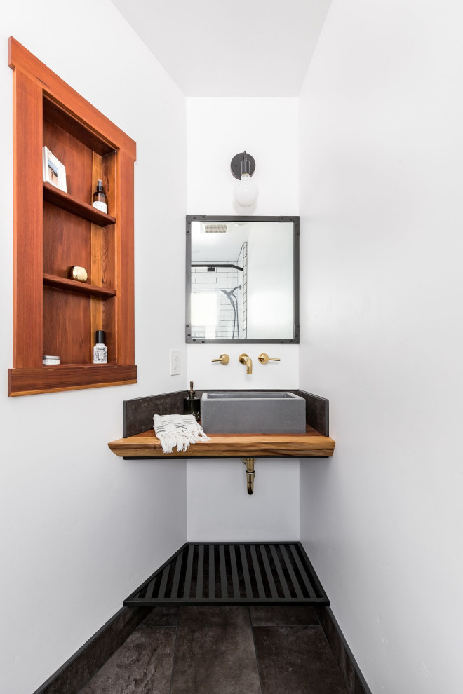 Bathroom - small coastal 3/4 ceramic tile, gray floor and single-sink bathroom idea in San Francisco with white walls, wood countertops, a vessel sink and brown countertops