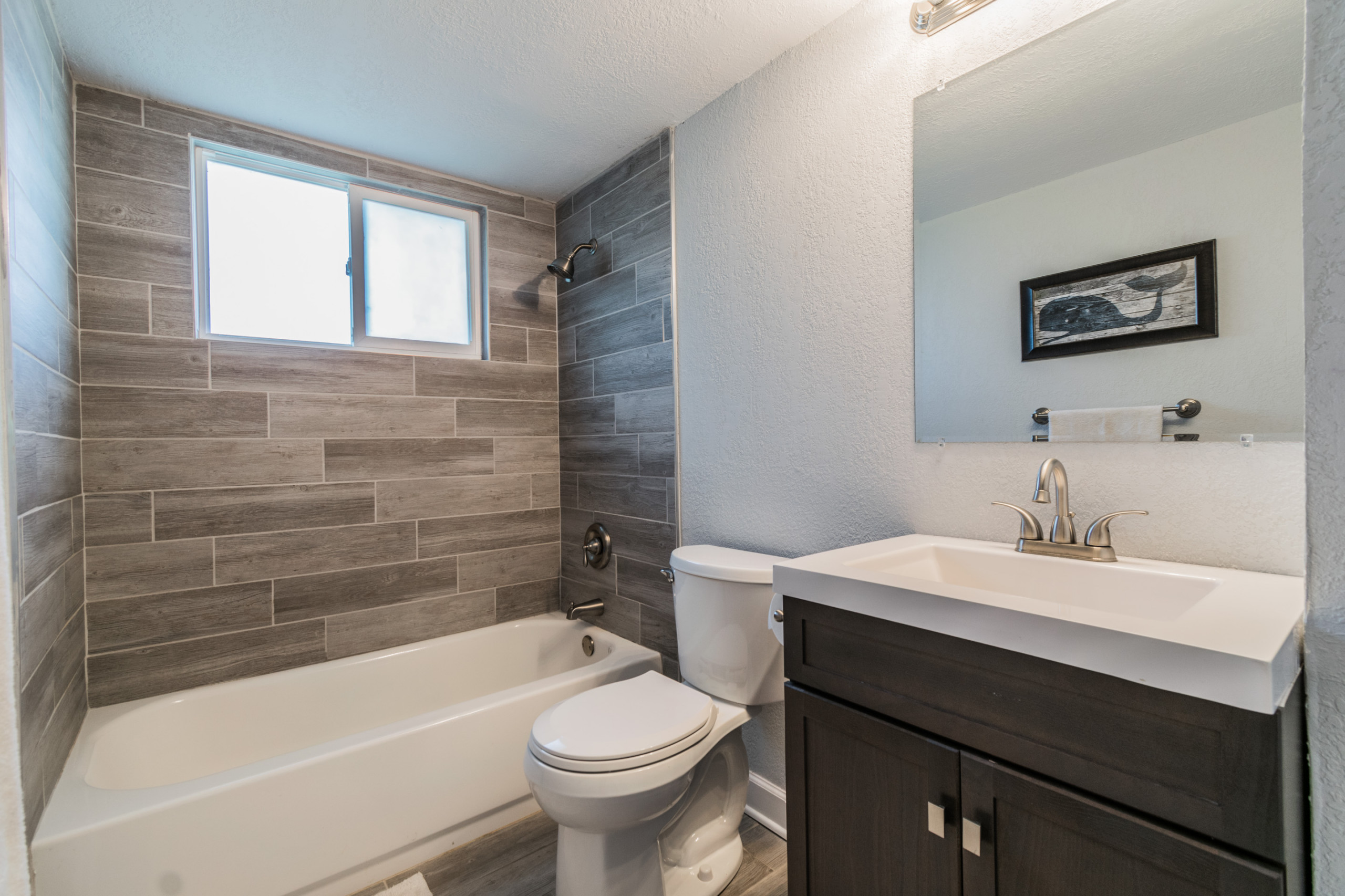 Guest bathroom remodel, wood look tile, shower window