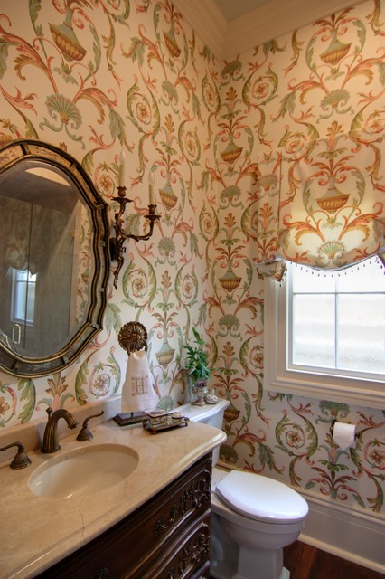 Guest Bathroom With Arabesque Wallpaper Traditional