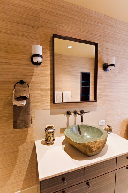 Guest Bathroom with Custom Macassar Ebony Veneer Cabinetry and Stone Vessel Sink eclectic bathroom