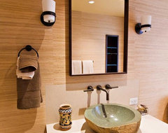 Guest Bathroom with Custom Macassar Ebony Veneer Cabinetry and Stone Vessel Sink eclectic-bathroom
