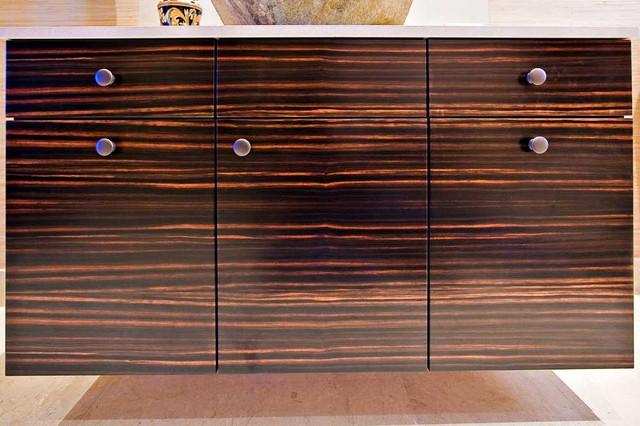 Guest Bathroom with Custom Macassar Ebony Veneer Cabinetry and Stone