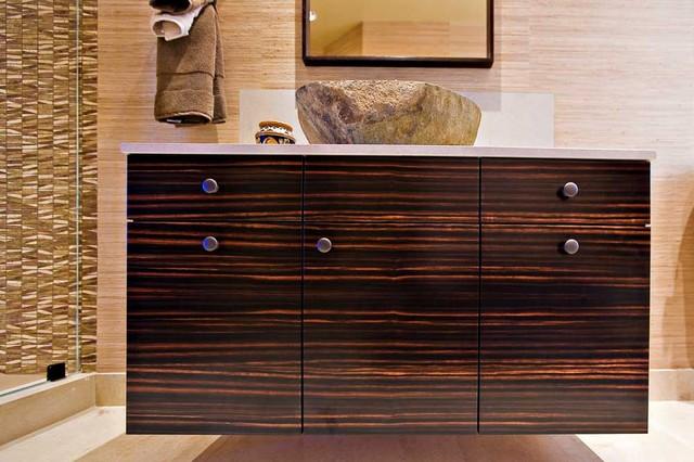 Great Guest Bathroom With Custom Macassar Ebony Veneer Cabinetry And Stone Vessel  Sink Eclectic Bathroom
