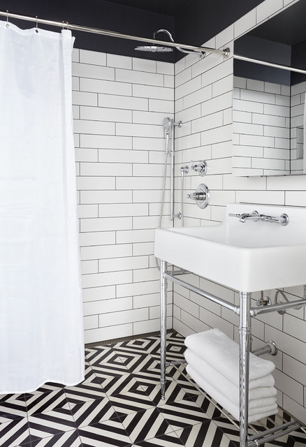 Inspiration for a small nautical bathroom in Nashville with white tiles, ceramic flooring, metro tiles, a console sink, multi-coloured floors and a shower curtain.
