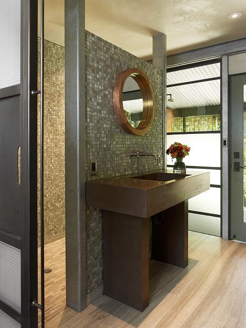 glass tile on wall and shower, bathroom trends, bathroom ideas, spa feel,