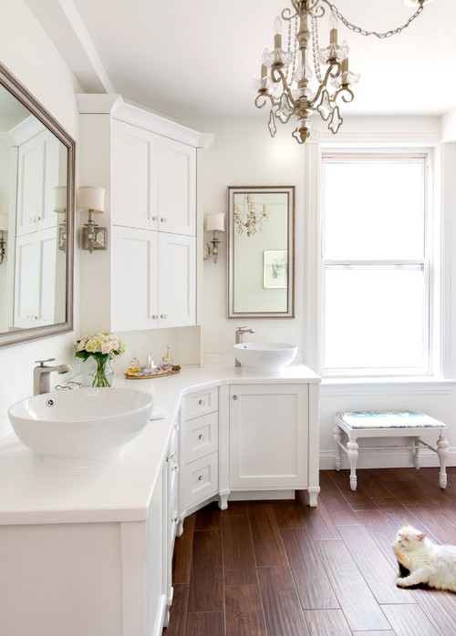 Transitional Bathroom by Burlington Interior Designers & Decorators Claire Jefford at Creating Contrast Designs