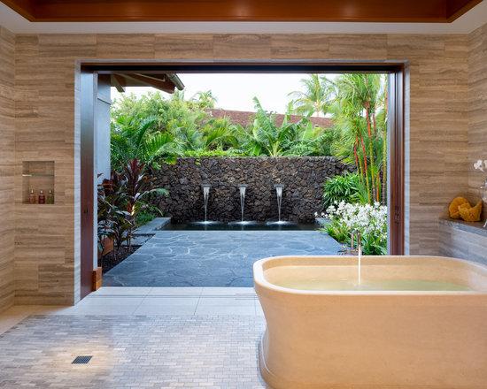 Tropical Bathroom Tile Ideas : Tropical bathroom shower home design photos decor ideas