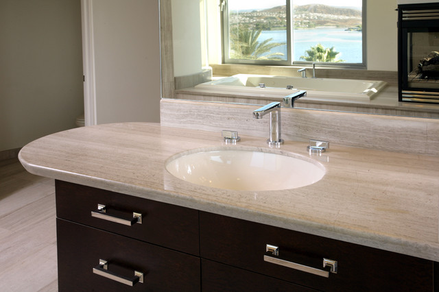 Haisa Light Polished Marble Countertop Modern Bathroom Los Angeles By Soli Architectural