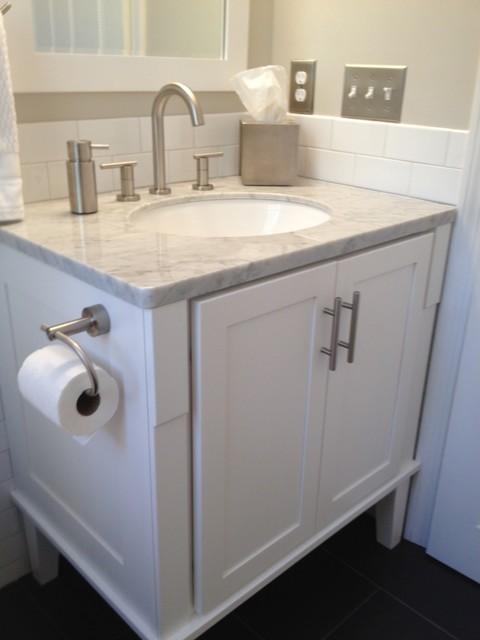 Half bath redo traditional bathroom boston by tmk remodeling