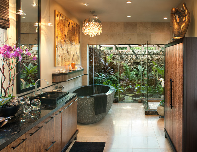 Hallman master bath tropical bathroom san diego by james patrick walters - Salle de bain tropicale ...