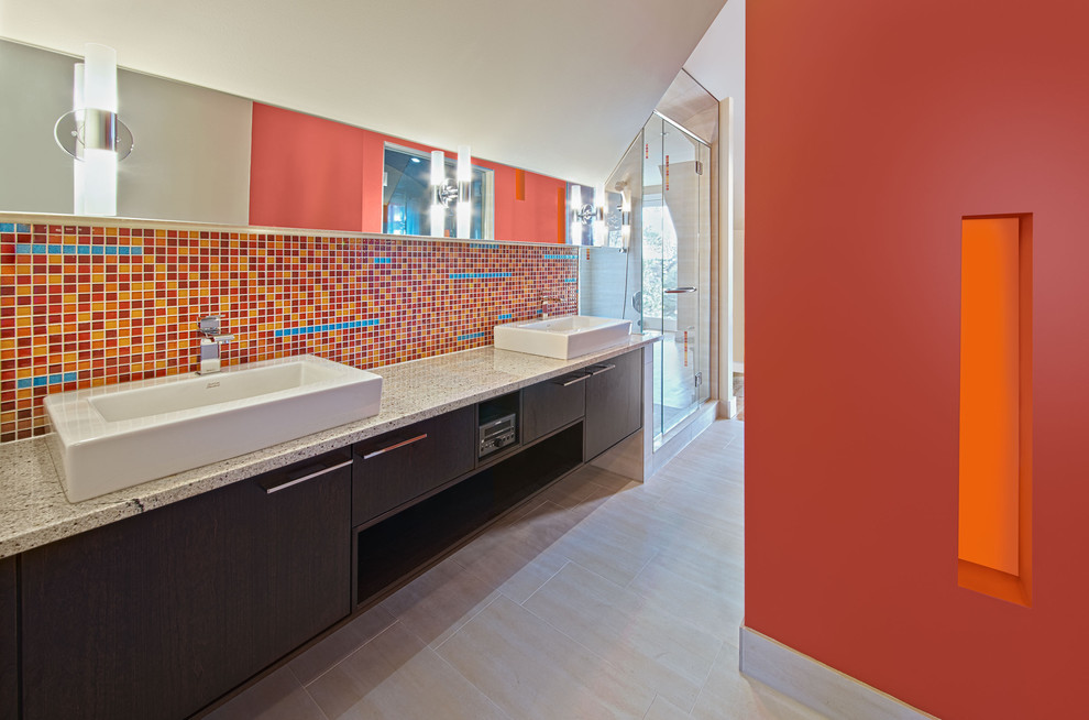 Example of a minimalist red tile and mosaic tile bathroom design in Ottawa with a vessel sink