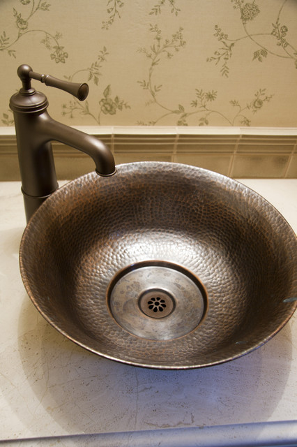 Hammered Copper Vessel Sink And Bronze Faucet Traditional Bathroom