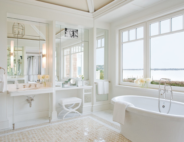 Excellent Dual Lighting Features Such As The Lights Above The Vanity Unit And Ceiling Downlights Ensure This Bathroom Is Shown In The Very Best Light The Relaxed, Classic Style Of The Hamptons Brings Their Bathroom To Life