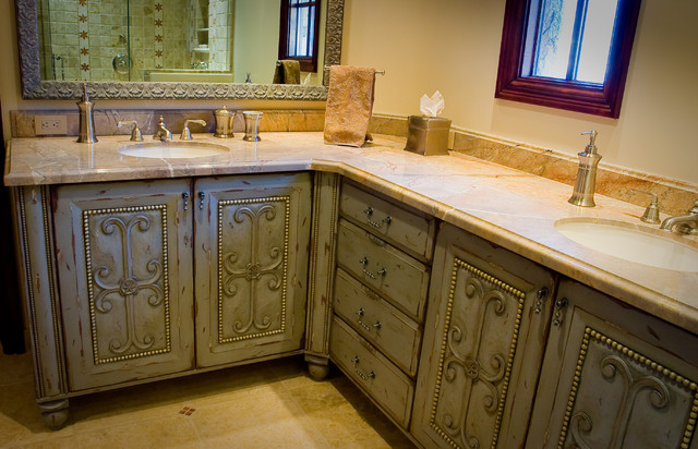 Hand carved master bathroom traditional-bathroom