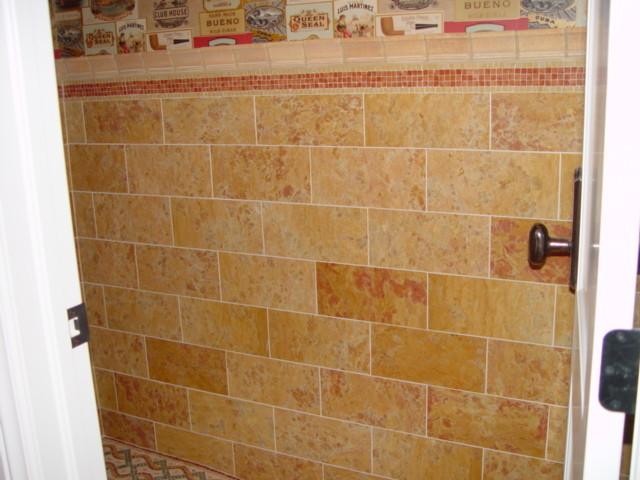 hand cut marble mosaic bathroom