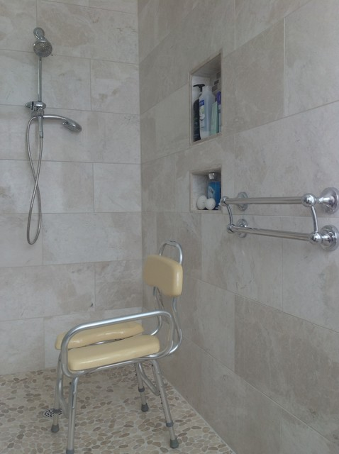 Hand Held Shower Recessed Niches And Decorative Grab Bars Columbus Ohio Roll In Transitional Bathroom