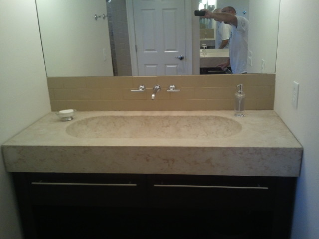 ... make-up table and vanity with integrated trough sink. modern-bathroom