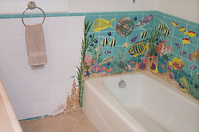 Hand painted tile traditional bathroom los angeles for How to paint bathroom wall tile