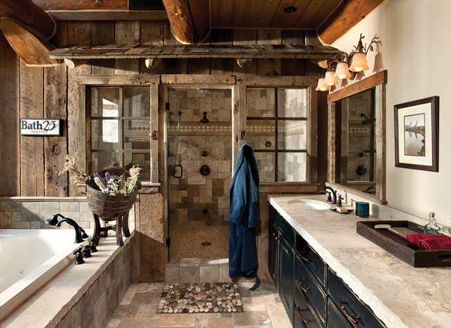 Rustic Bathroom Showers handcrafted log home: the jackson hole residence - master bathroom