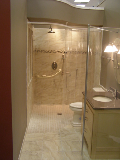 Handicapped accessible and universal design showers traditional bathroom cleveland by - Handicap accessible bathroom design ideas ...
