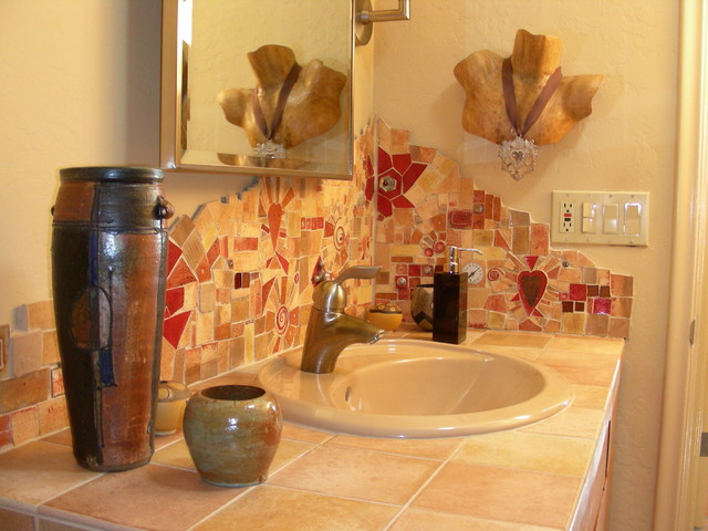 Handmade tile mosaic Backsplash eclectic bathroom