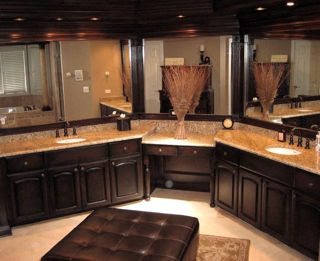 Handpainted master bathroom cabinets traditional for Master bathroom cabinets