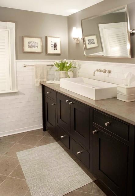 Harding township farmhouse traditional bathroom new for Farmhouse bathroom tile design ideas