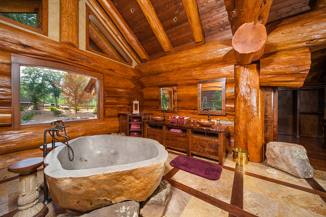 Harry Scott Rustic Bathroom By Pioneer Log Homes Of