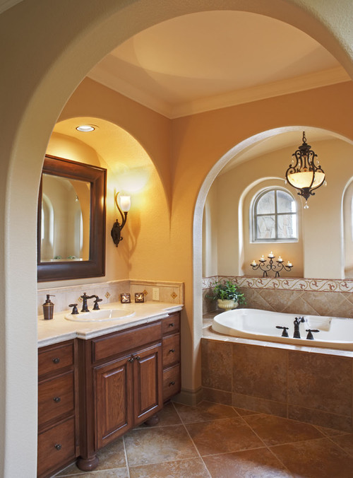 mediterranean bathroom design by austin architect vanguard studio inc - Bathroom Ideas Brown Cream