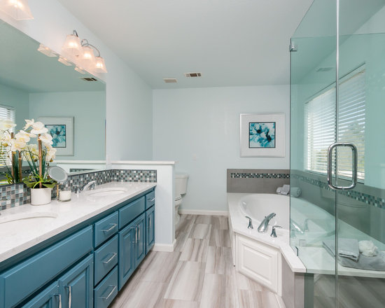 Mid Sized Teal And Grey Bathroom Home Design Ideas Pictures Remodel And Decor
