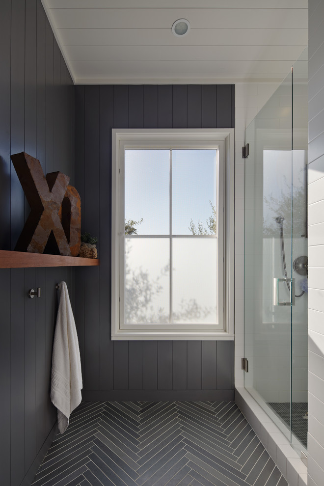 Cottage gray tile alcove shower photo in San Francisco