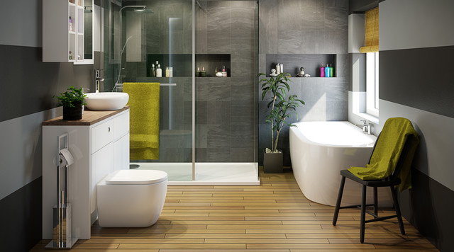 Helena Bathroom Suite Contemporary Bathroom Hampshire By BQ - Grey bathroom tiles bq