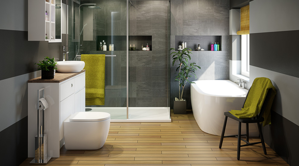 Example of a large trendy master gray tile porcelain tile bathroom design in Hampshire with an integrated sink, open cabinets, white cabinets, laminate countertops, a one-piece toilet and black walls