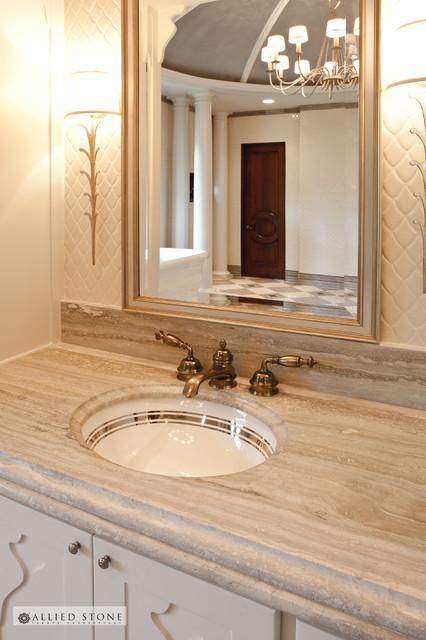 Her Bath and Shower Bench mediterranean-bathroom