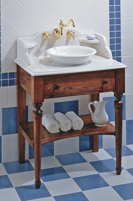 Herbeau Bonne Maman bathroom cabinet with White Vessel Bowl traditional-bathroom-sinks