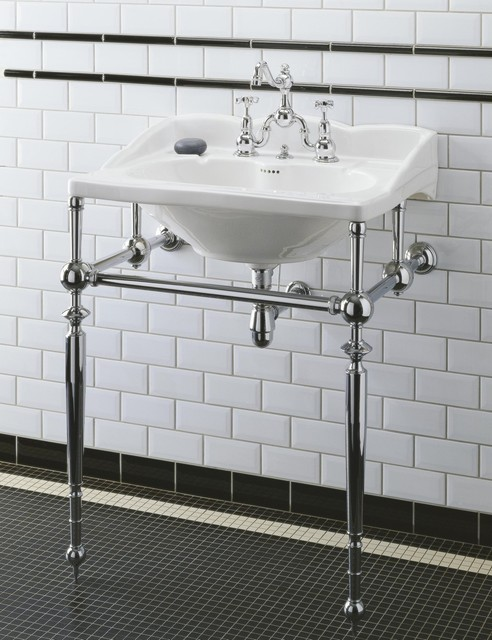 Herbeau empire sink metal washstand traditional for Pedestal sink with metal legs