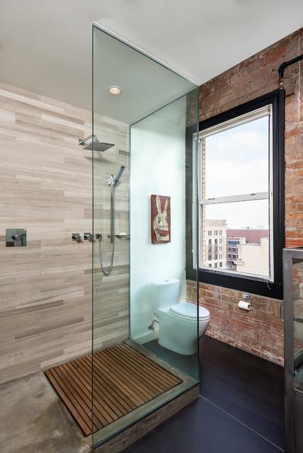 hermann loft renovation - industriel - salle de bain - houston ... - Salle De Bain Style Loft