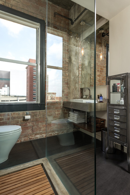 Hermann loft renovation industrial bathroom houston for Bathroom ideas houston