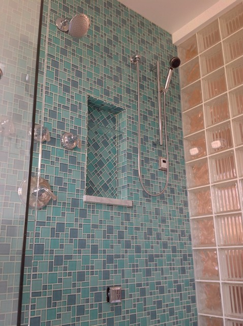 Herringbone glass tile shampoo niche with Argus pattern ...