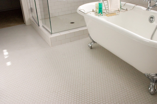 Hex Mosaic Tiles Traditional Bathroom
