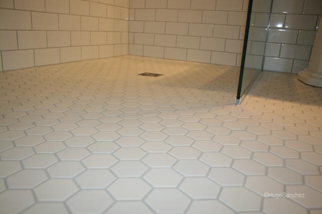 Hexagonal Shower Floor Tiles Traditional Bathroom