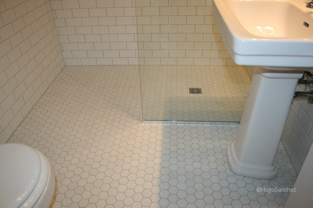 Ordinaire Hexagonal Shower Floor Tiles Traditional Bathroom